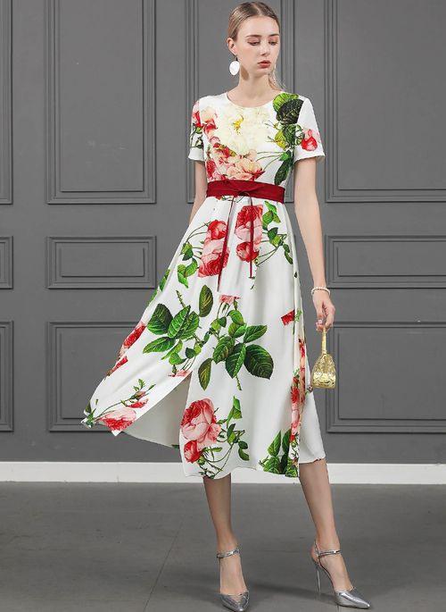 Basic Kurze Ärmel Blumen Midi Kleider  Floryday