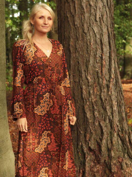 Batik Maxikleid Langarm Boho Herbst Style  Weltentänzer