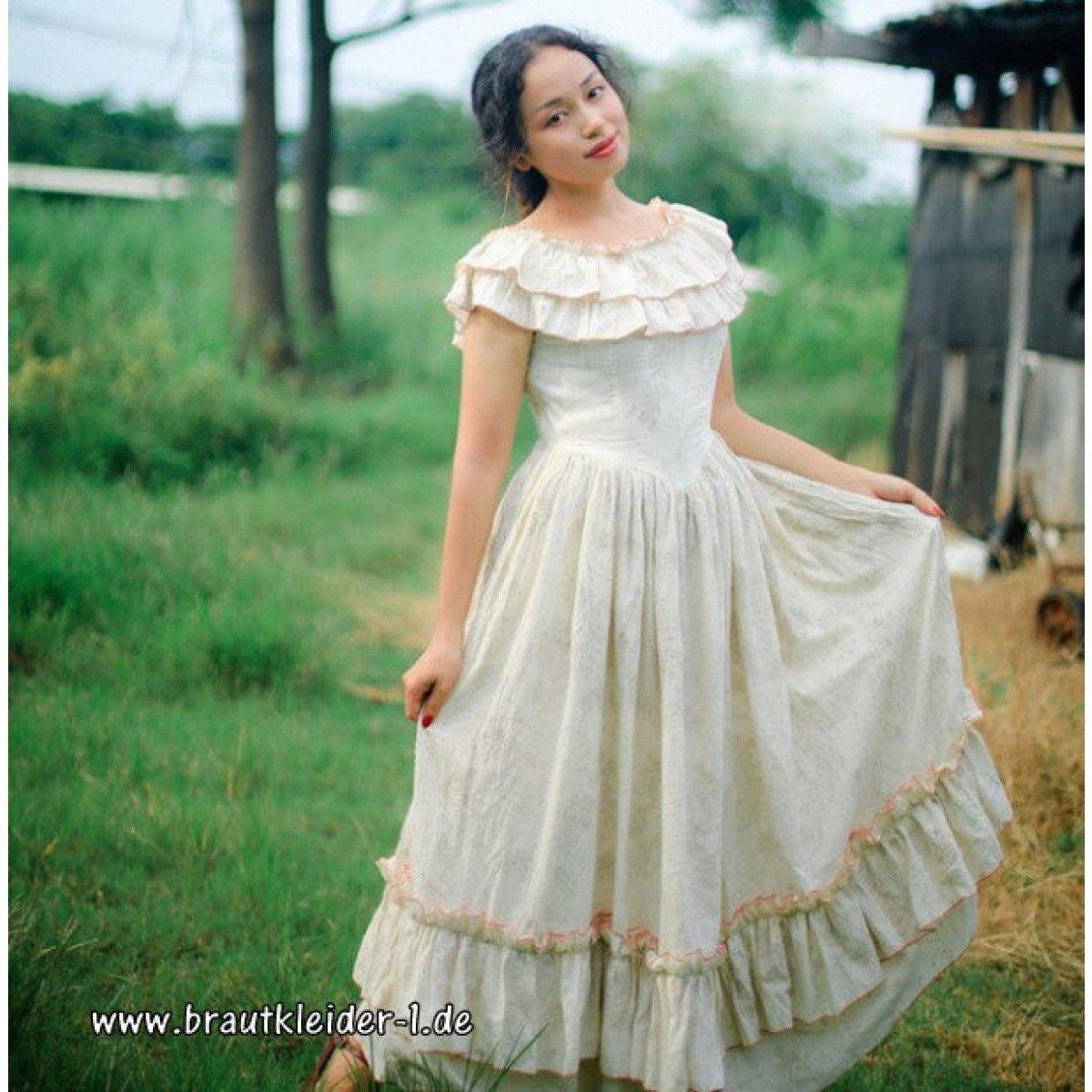 Baumwoll Vintage Kleid Fuer Den Standesamt Lang Braut