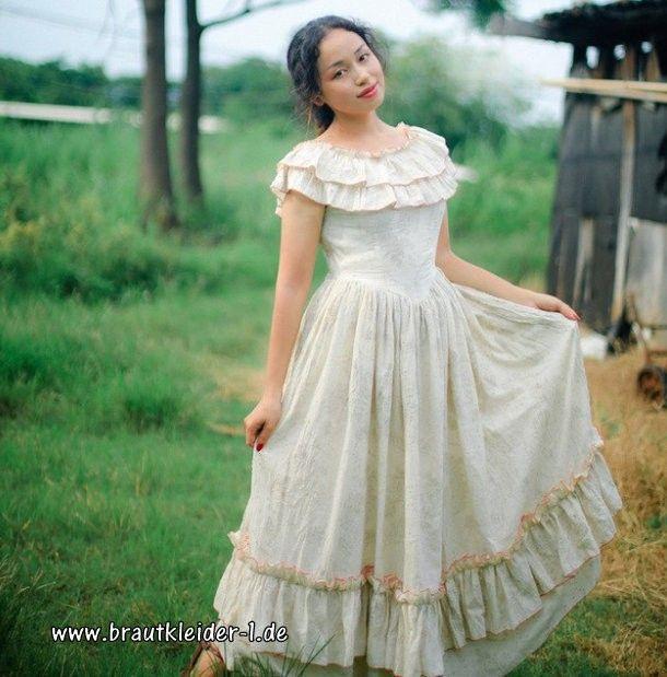 Baumwoll Vintage Kleid Für Den Standesamt Lang