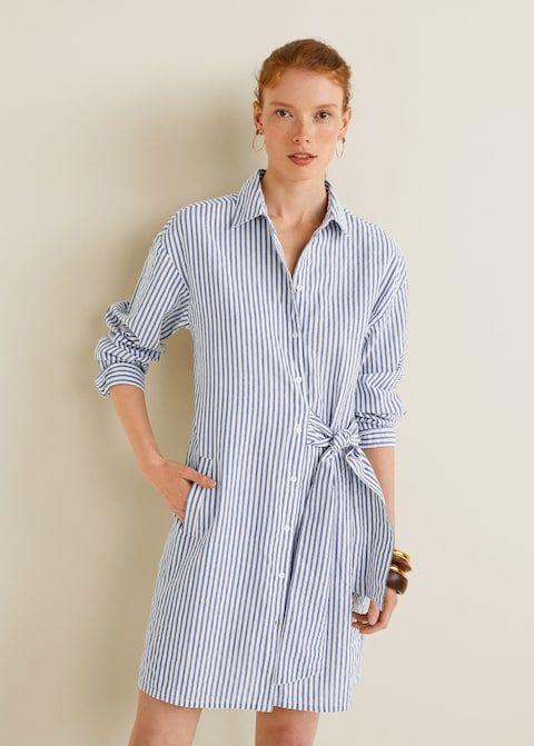 Baumwollkleid Mit Schleifendetail  Damen  Mango Deutschland