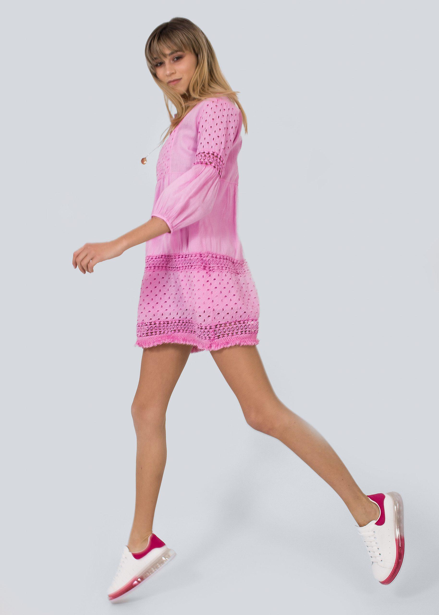 Baumwollkleid Mit Spitze Pink  Kleider  Bekleidung