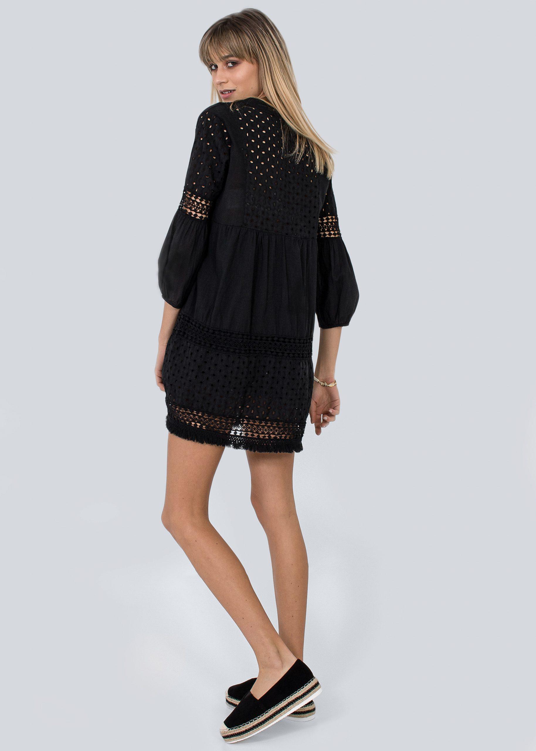 Baumwollkleid Mit Spitze Schwarz  Kleider  Bekleidung