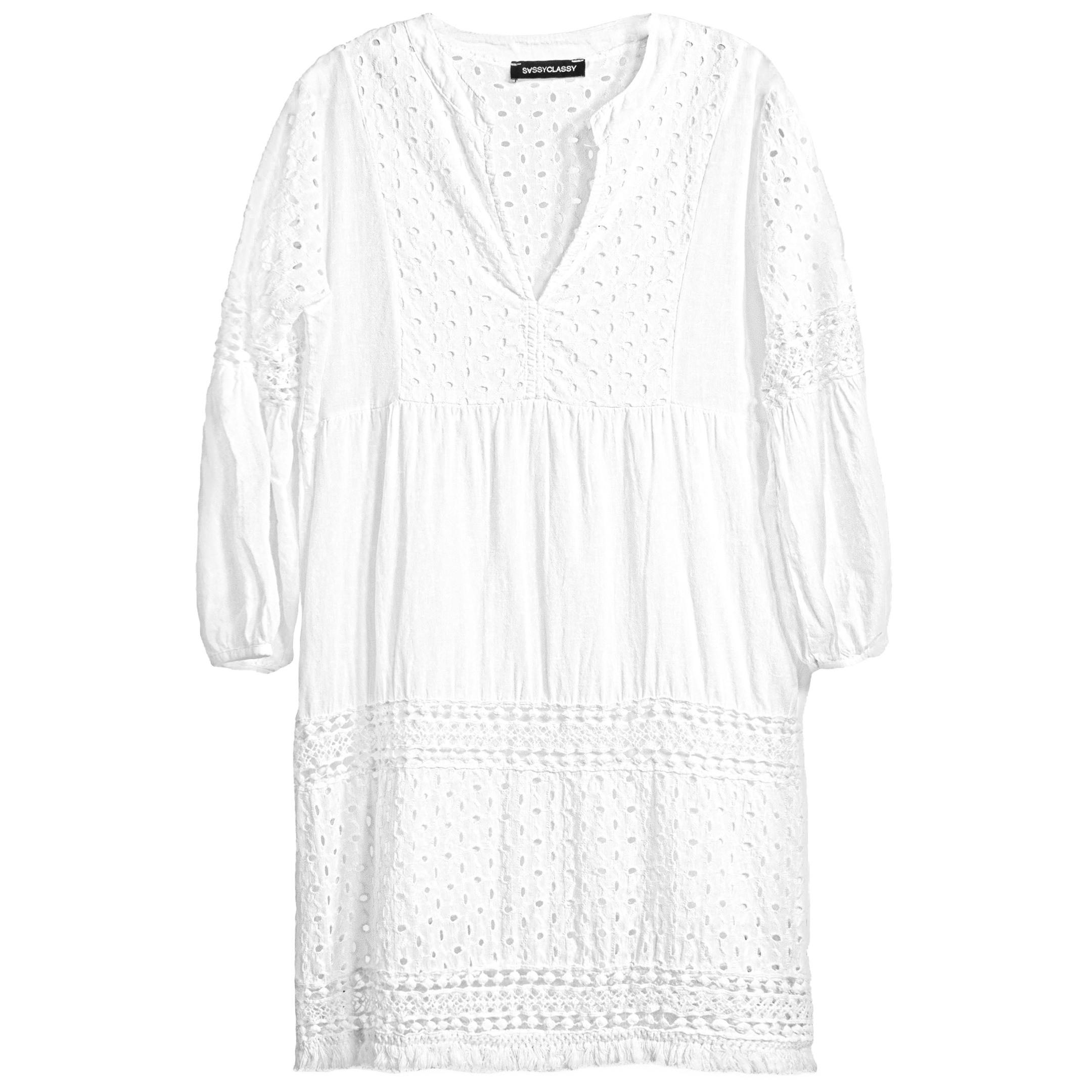Baumwollkleid Mit Spitze Weiß  Kleider  Bekleidung