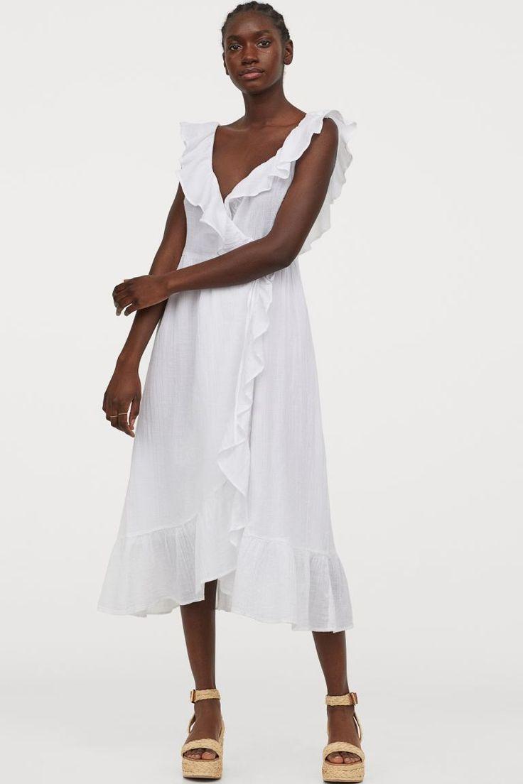 Baumwollkleid Mit Volants  Weiß  Ladies  Hm De In 2020