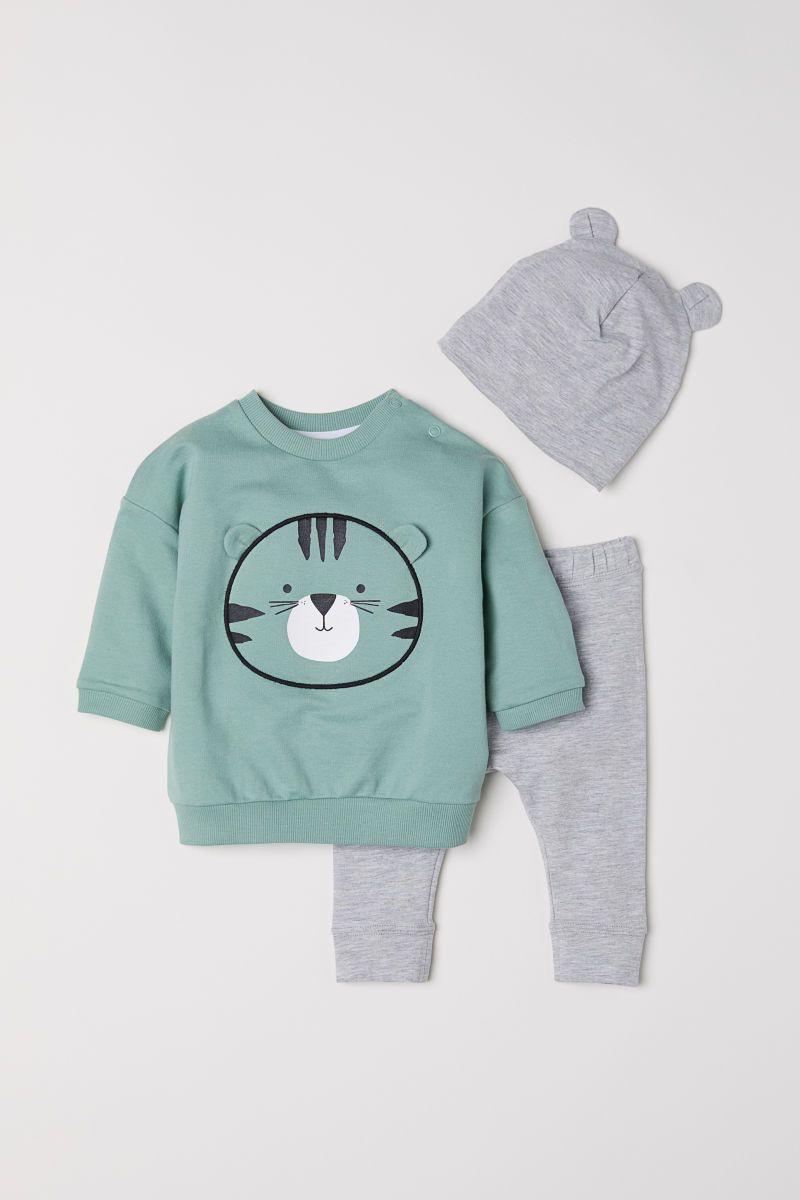 Baumwollset In 3 Teilen  Hellgrün/Graumeliert  Kinder