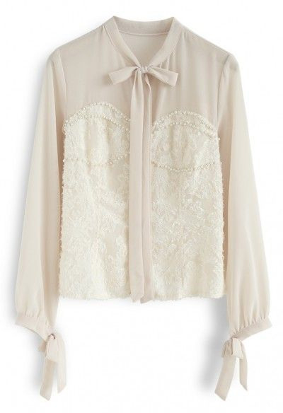 Be Your Sweet Heart Bowknot Top In Cream  Vintage Tops