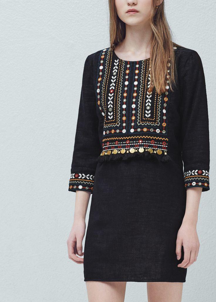 Bead Embroidery Dress  Women  Mango Usa  Bestickte