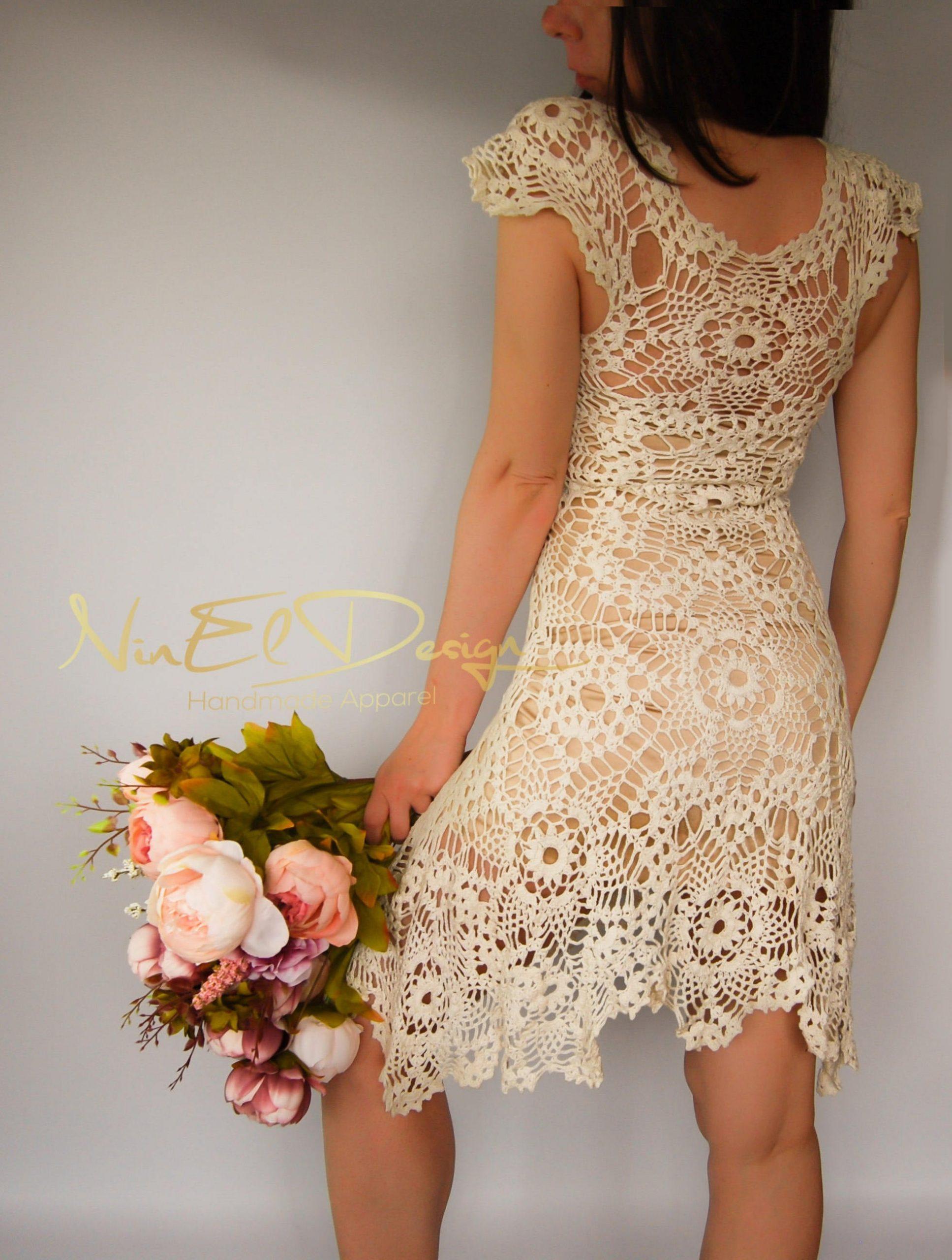 Beige Häkelkleid Häkeln Sie Hochzeitskleid Minikleid Häkeln