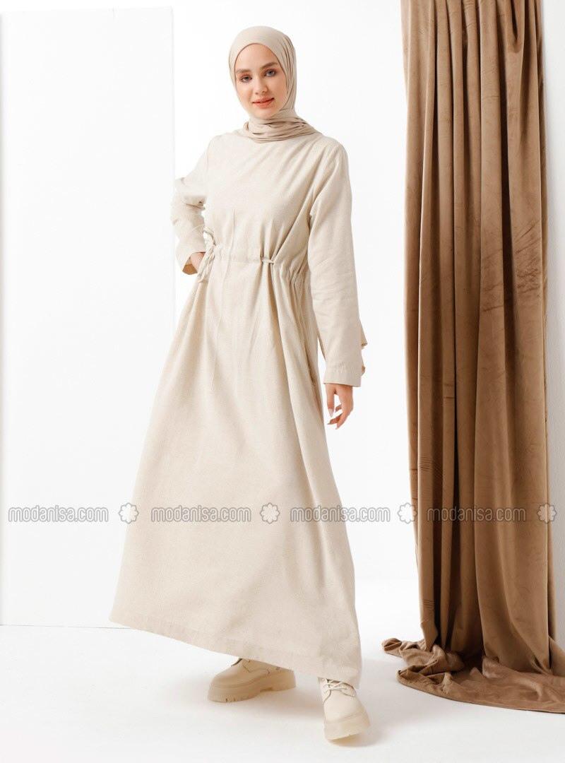 Beige  Hijab Kleid