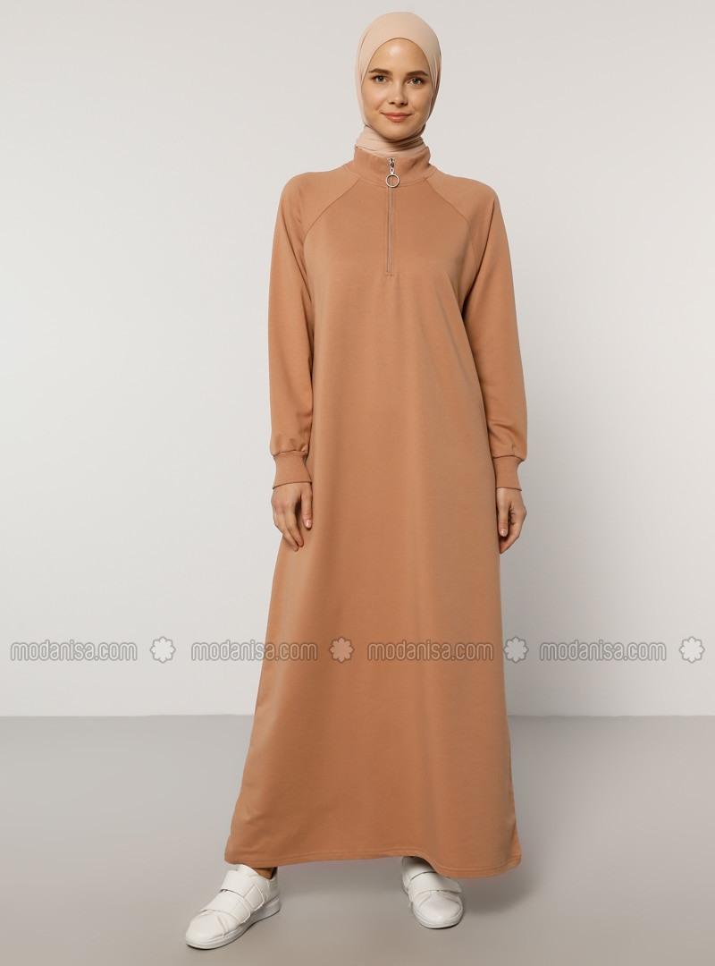 Beige  Nerzbraun  Rollkragen   Hijab Kleid