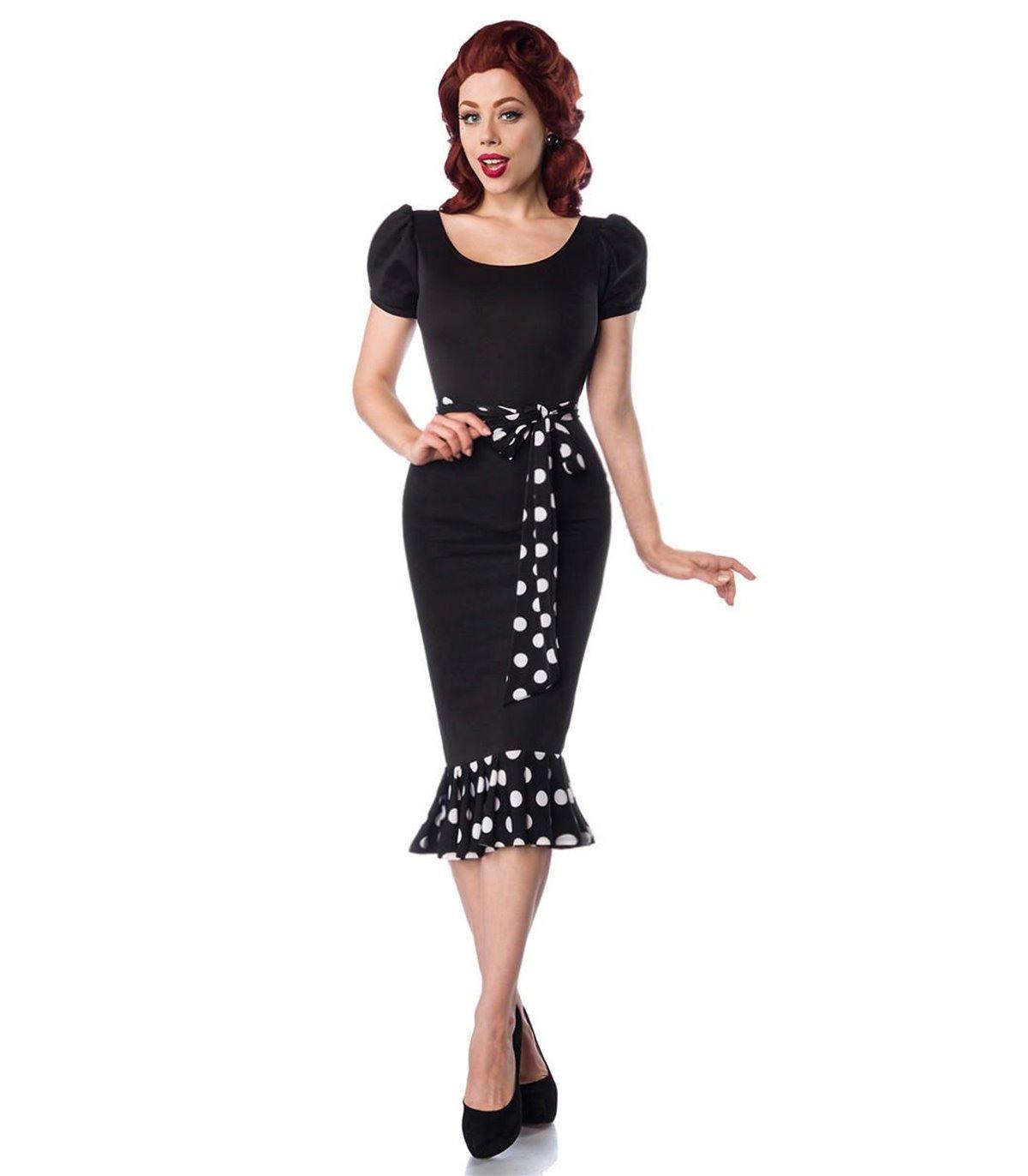 Belsira Jerseykleid Mit Puffärmeln Schwarz/Weiß Online Kaufen