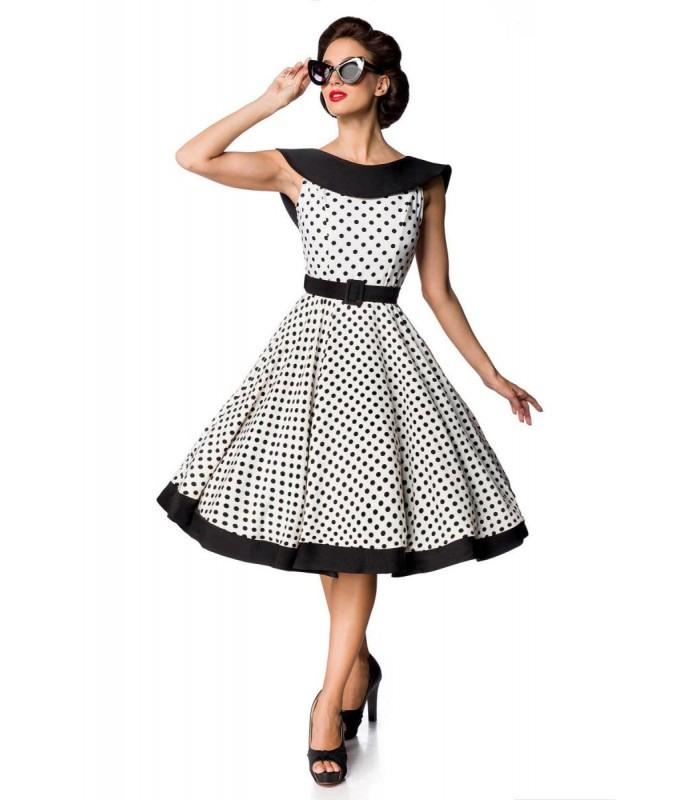 Belsira Premium Vintage Swingkleid Weiß/Schwarz  At50124