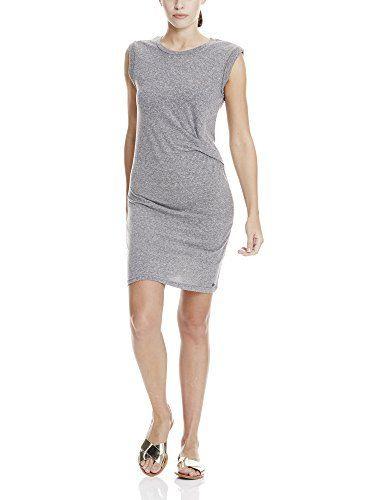 Bench Damen Kleid Draped Knot Jersey Dress Grau Asphalt