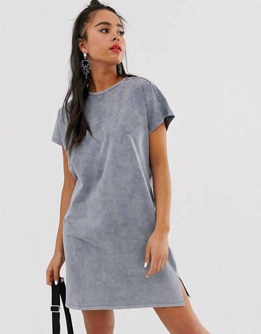 Bershka  Tshirtkleid In Grau In 2020  T Shirt Kleid