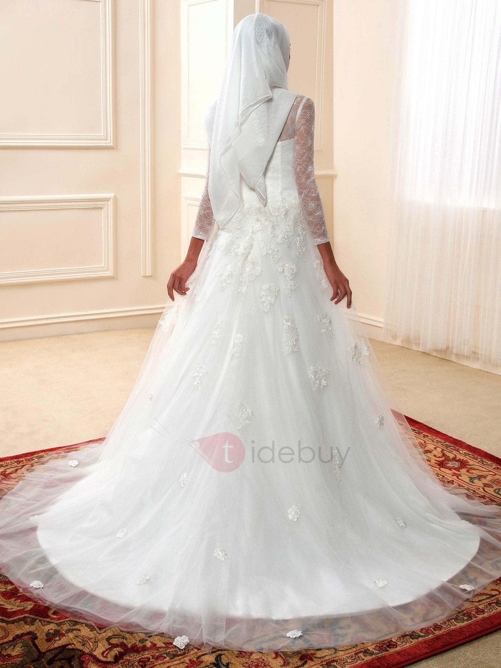 Bescheidenen Schiere Langarm Arabische Hochzeitskleid
