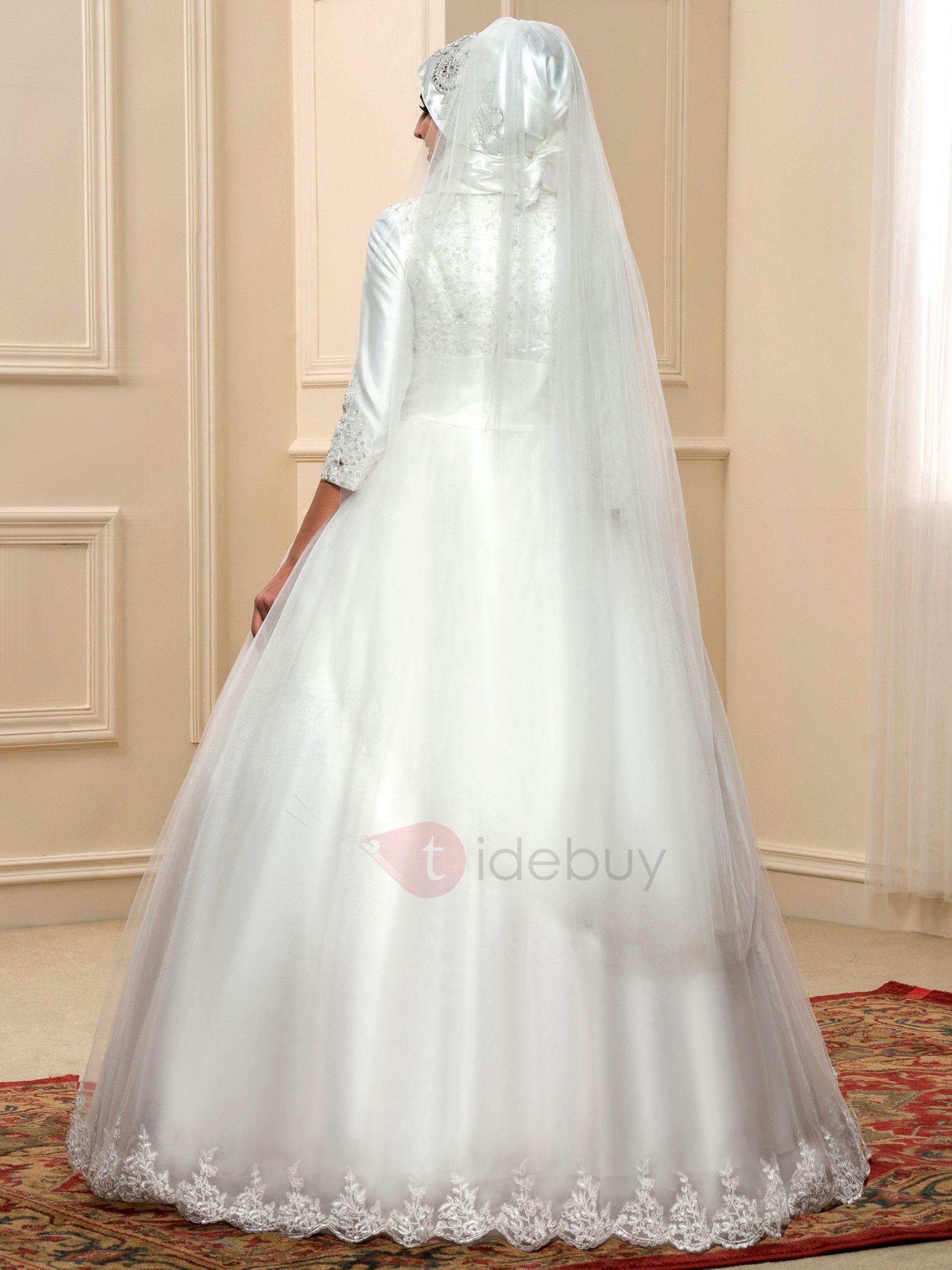 Bescheidenen Stehkragen Islam Arabische Hochzeitskleid Mit