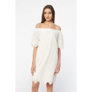 Best Mountain Bardotausschnitt Kleid  Weiß  Brandalley