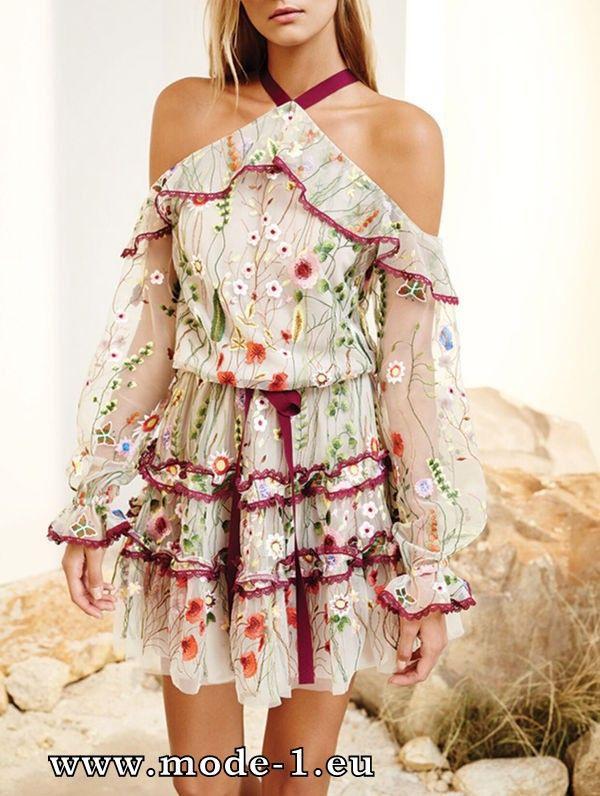 Besticktes Sommerkleid Kurz Schulterfrei  Vestidos