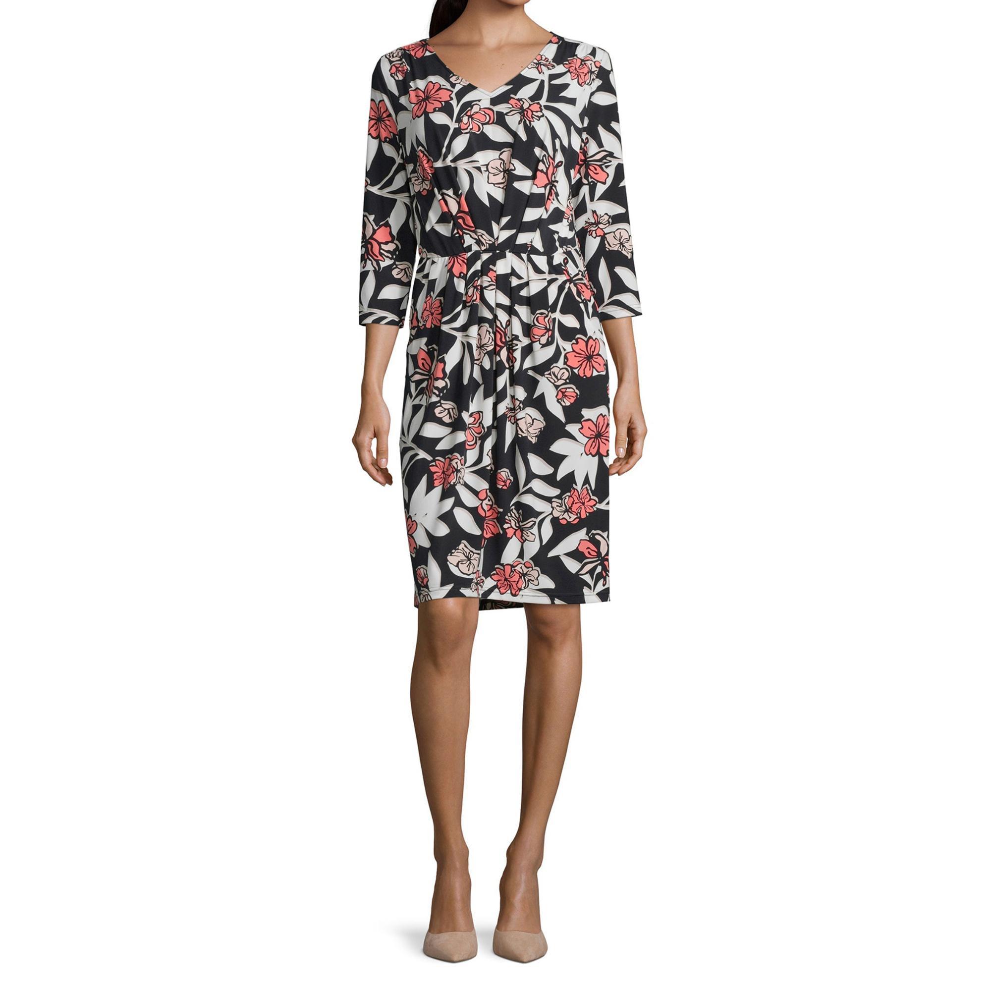 Betty Barclay Damen Kleid Vausschnitt Floral Langarm Mode