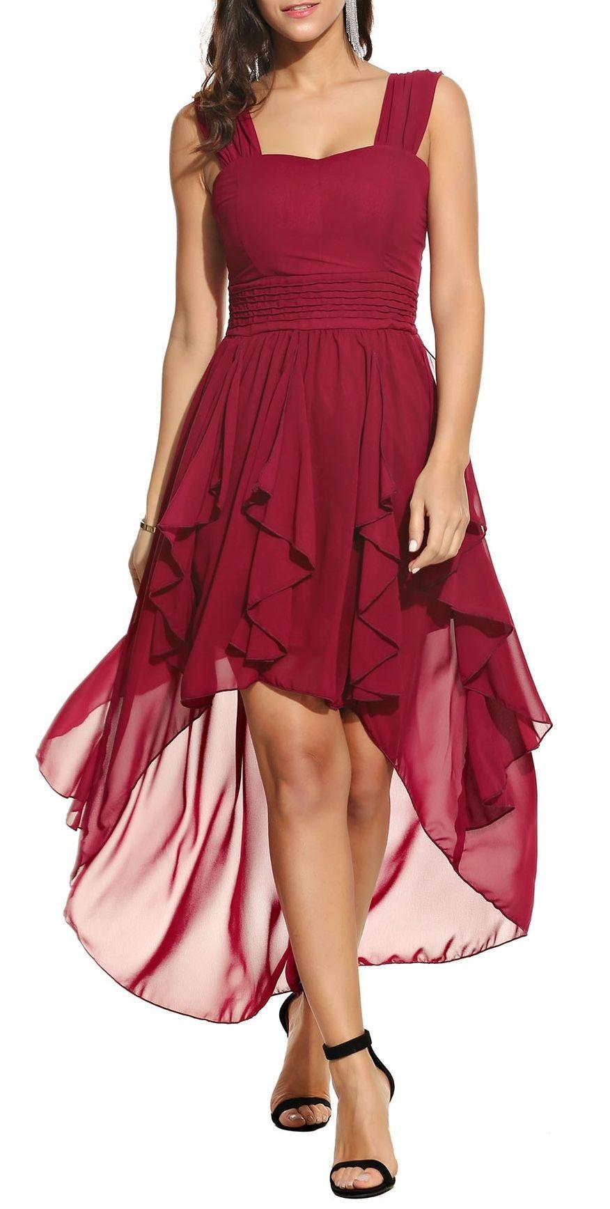 Beyove Damen Chiffonkleid Abendkleid Knielang Elegant