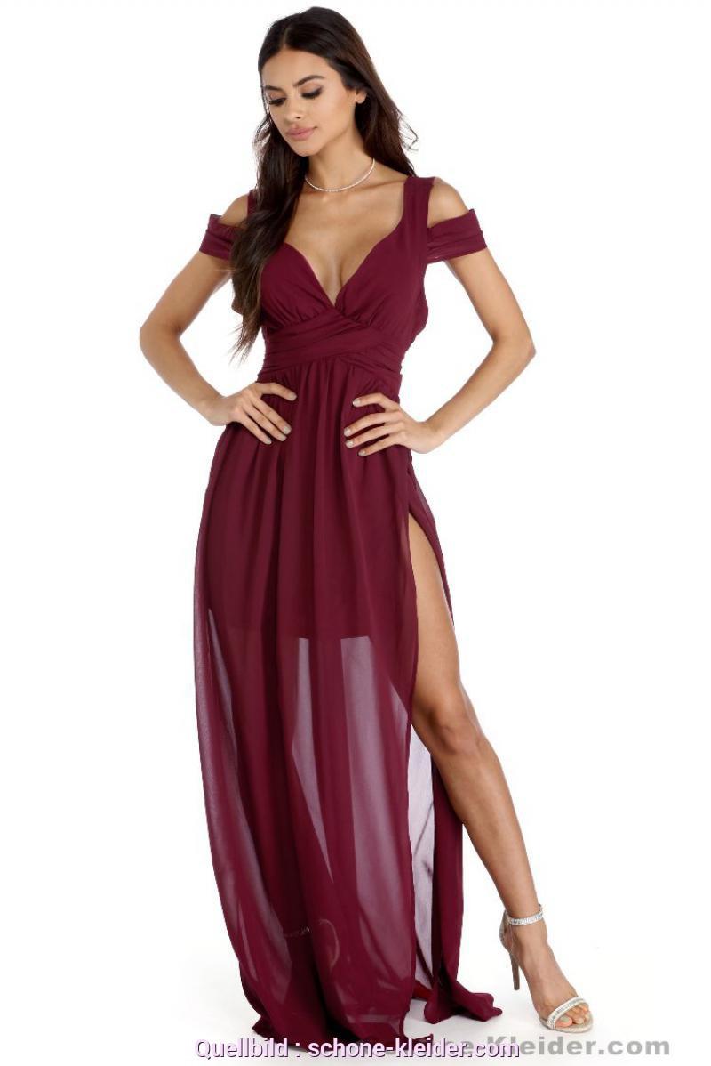 Bezaubernd Kleid Chiffon Lang Rotes Abendkleider Lang