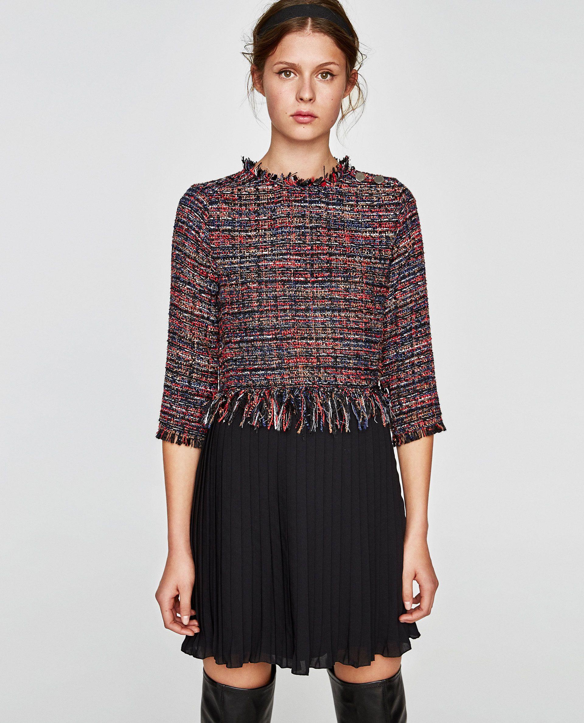 Bild 2 Von Tweedkleid Mit Plisséesaum Von Zara  Kleider