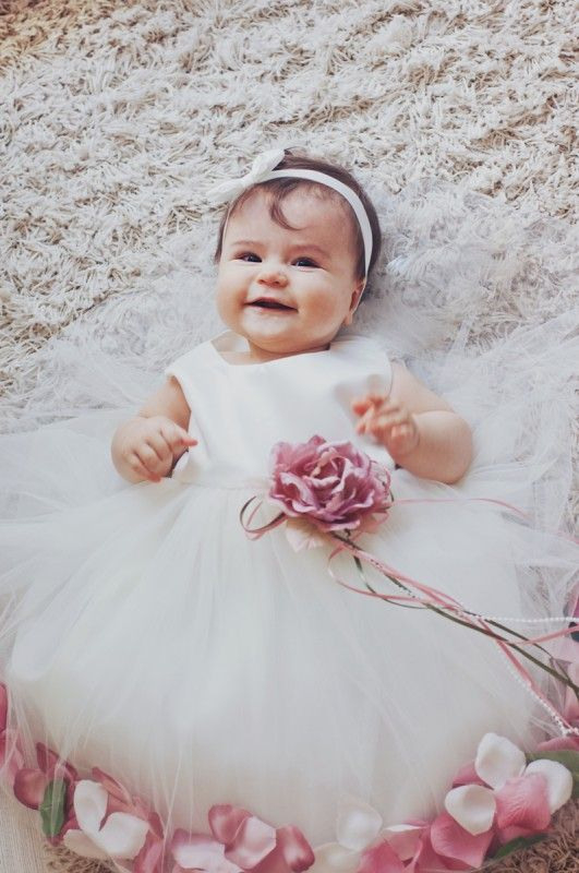 Bimaro Baby Mädchen Babykleid Vivien Creme Beige Taufkleid