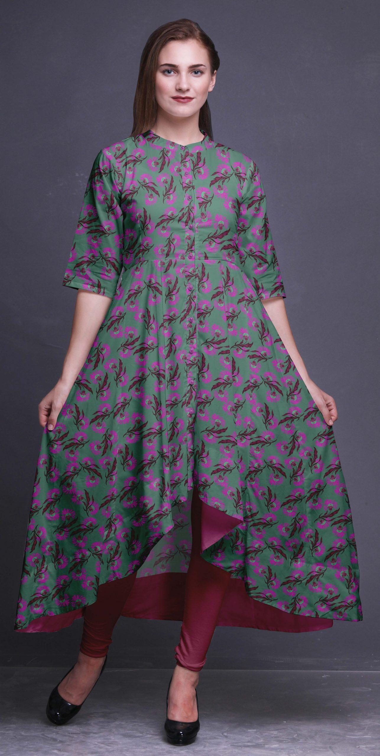 Bimba Anarkali Kleid Stehkragen Indische Kurtis Für Frauen