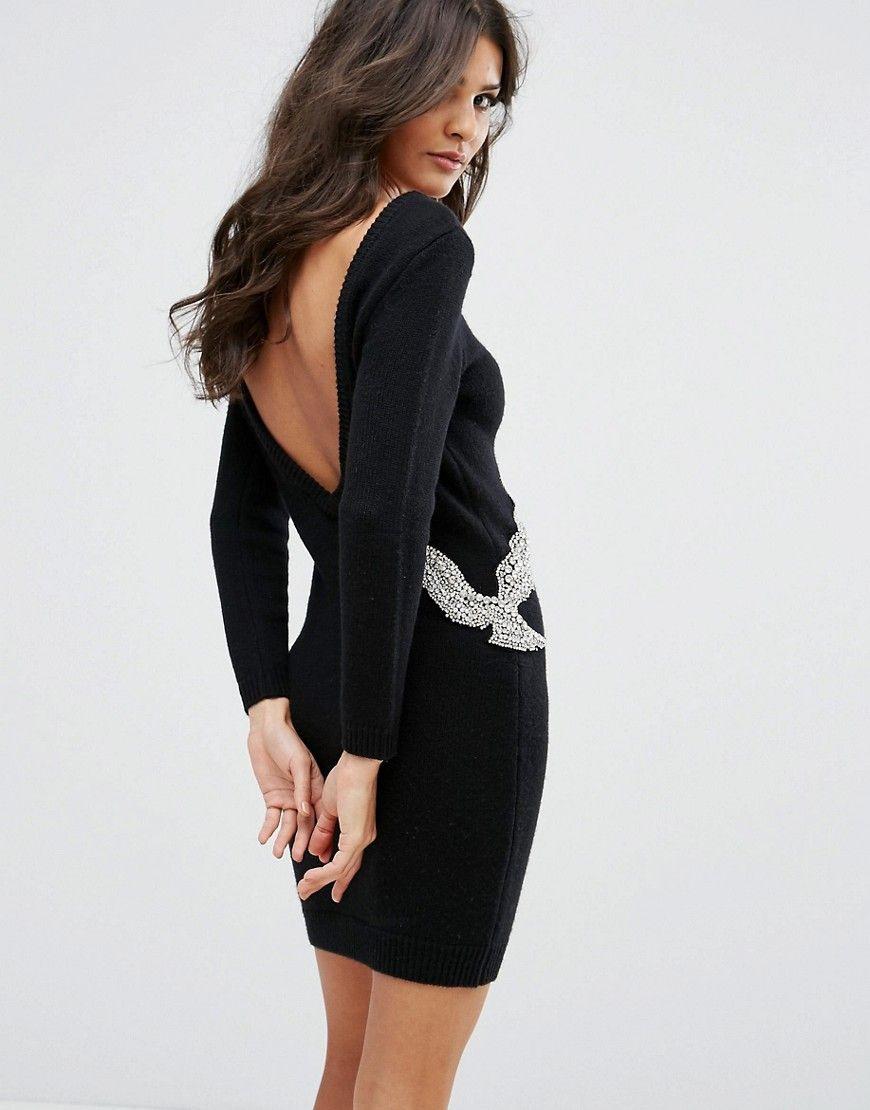 Bird Embellished Sweater Dress  Black  Maxi Dress Prom