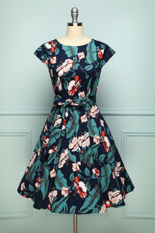 Blätter Blume  Vintage Kleider Swing Kleid Kleider
