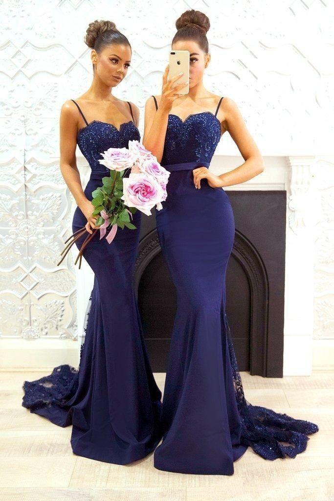 Blau Brautjungfernkleider Lang Günstig Meerjungfrau