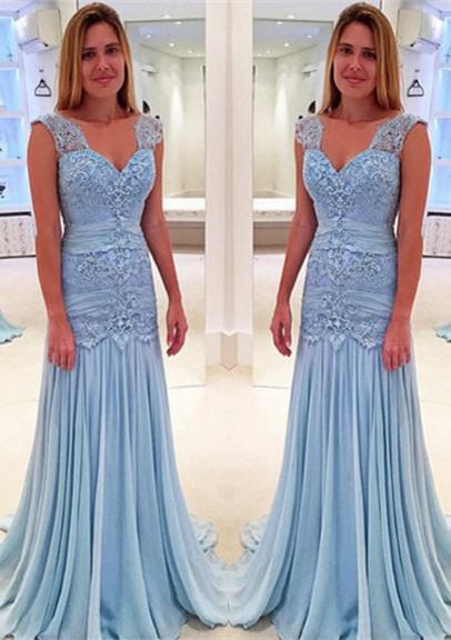 Blau Brautmutterkleider Spitze Chiffon Lange Kleider Für
