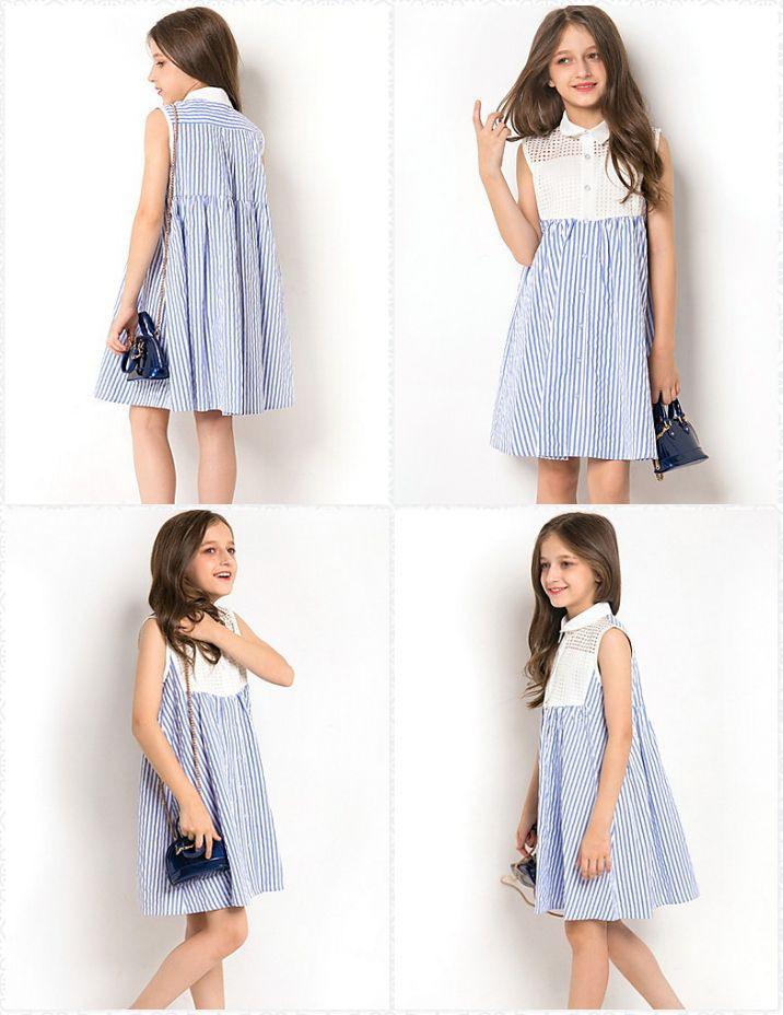Blau Weiss Gestreifte Kinder Sommerkleider