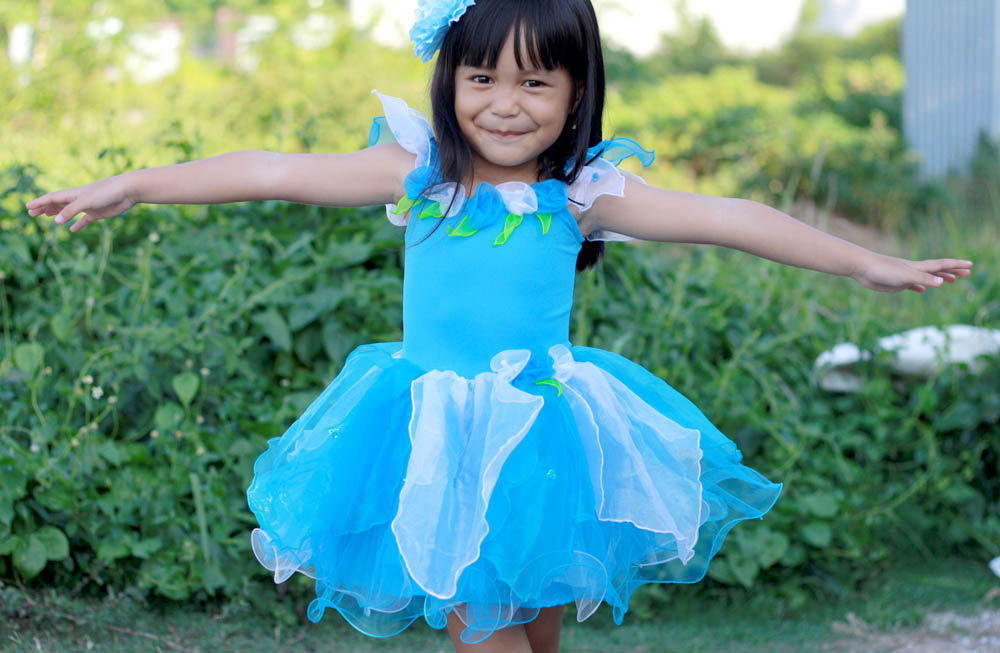 Blaue Feenkleid Blaue Blume Fee Kostüm Mädchen Fee Kostüm