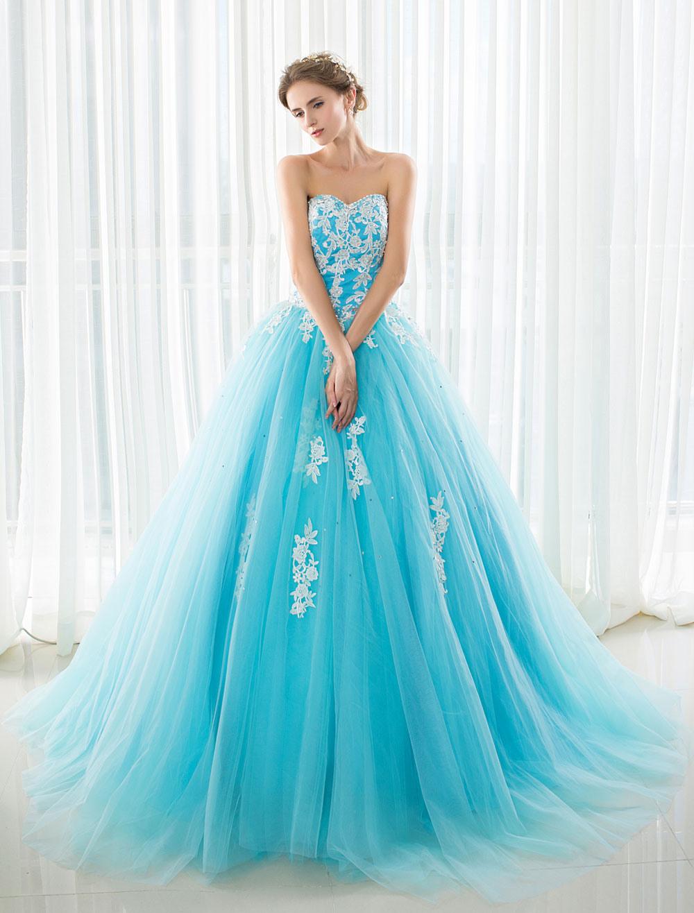 Blaue Hochzeitskleid Spitze Applique Tüll Gericht Zug