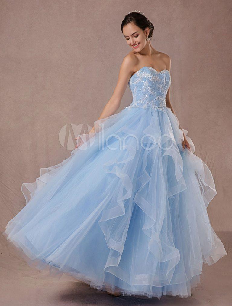 Blaue Hochzeitskleid Tüll Ball Kleid Spitze Applique