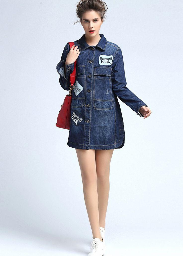 Blaues Jeans Blusenkleid Für Damen Nq2405  Fashion Denim