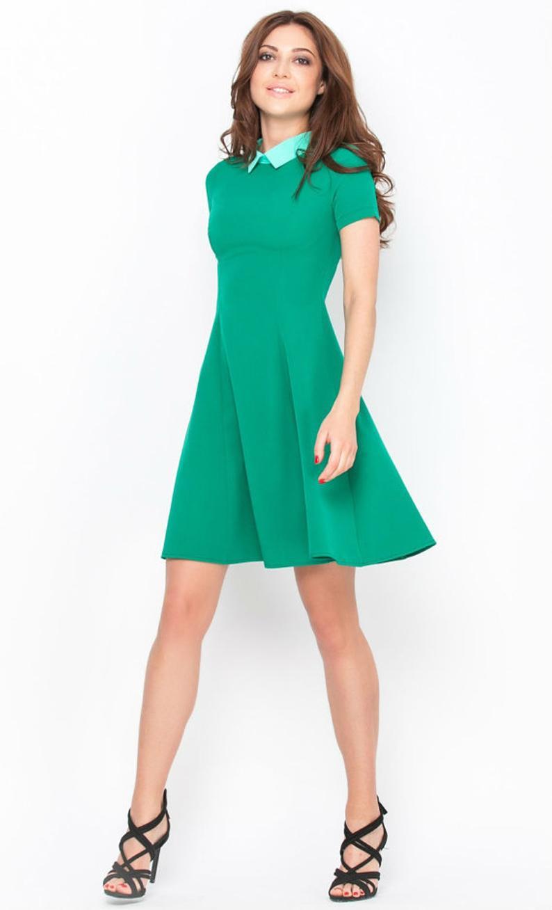 Blaues Kleid Kleid Kurzarm Frühling Kleid Sommerkleid