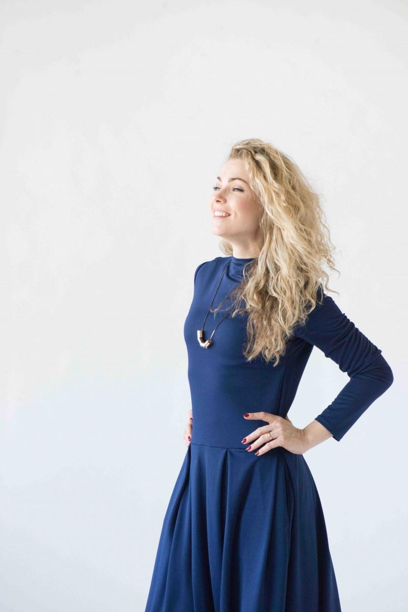 Blaues Langes Kleid Langarmmaxikleid Lässige