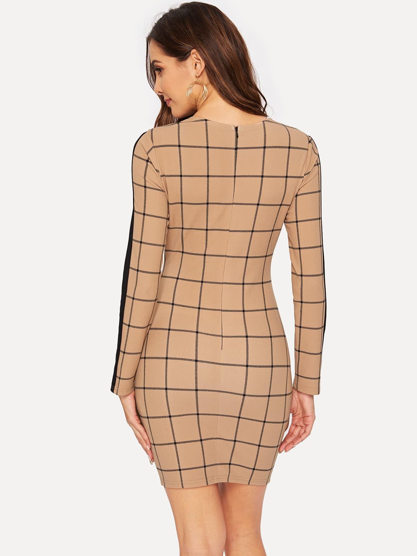 Bleistift Kleid Mit Reißverschluss Hinten  Shein