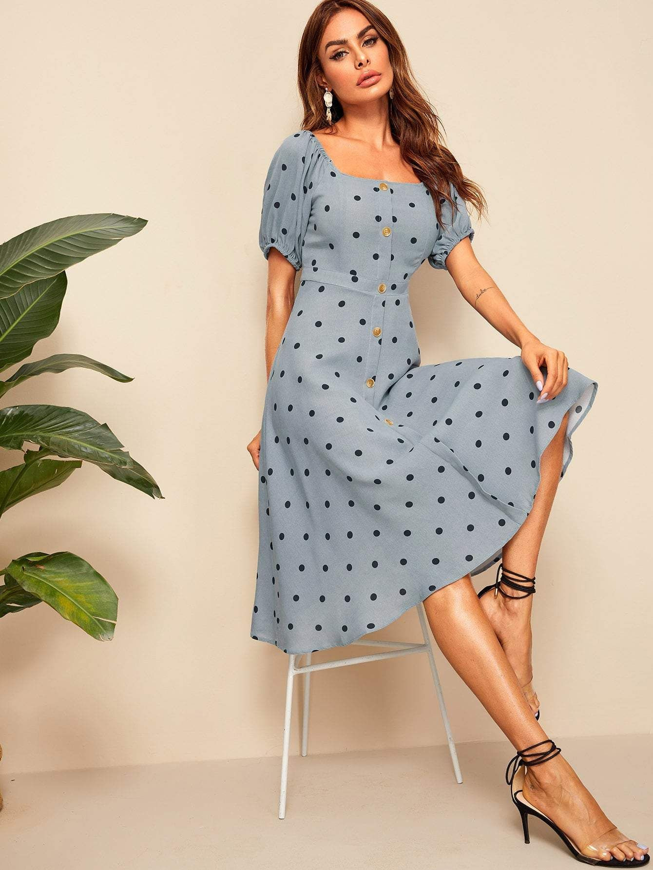 Blue Polka Dot Button Front Square Neck Dress Cs694069 In