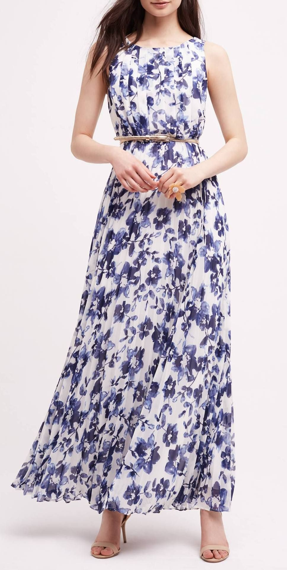 Blue  White Floral Maxi Dress  Schicke Kleidung