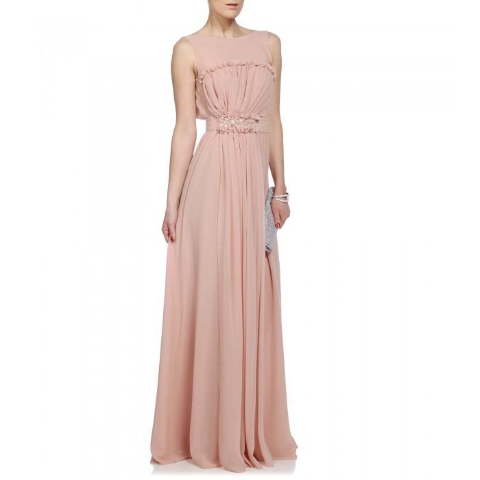 Blugirl Blumarine Bodenlanges Kleid Mit Bestickter Schärpe