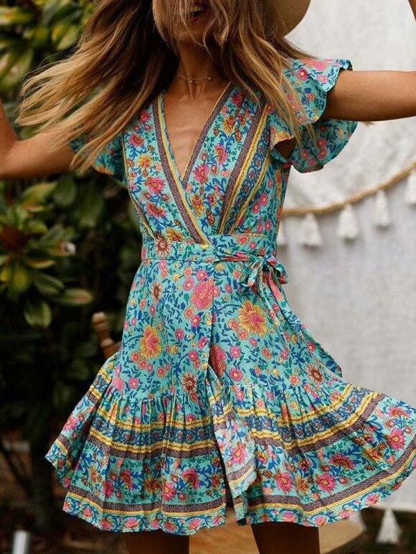 Blumen Kleid 2020 Mit Vausschnitt Sommer Kleid