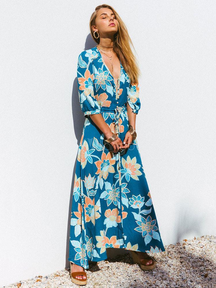 Blumen Maxikleid 2020 Vausschnitt Lang Kleid Halbe Hülse