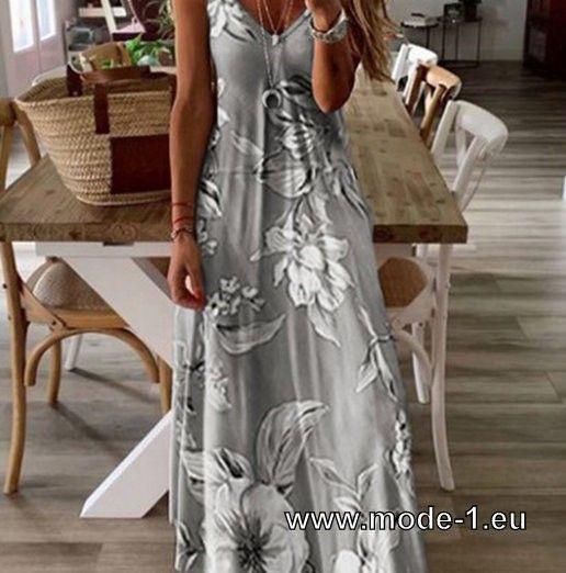 Blumen Print Tunika Style Chiffon Sommerkleid 2020 Mode