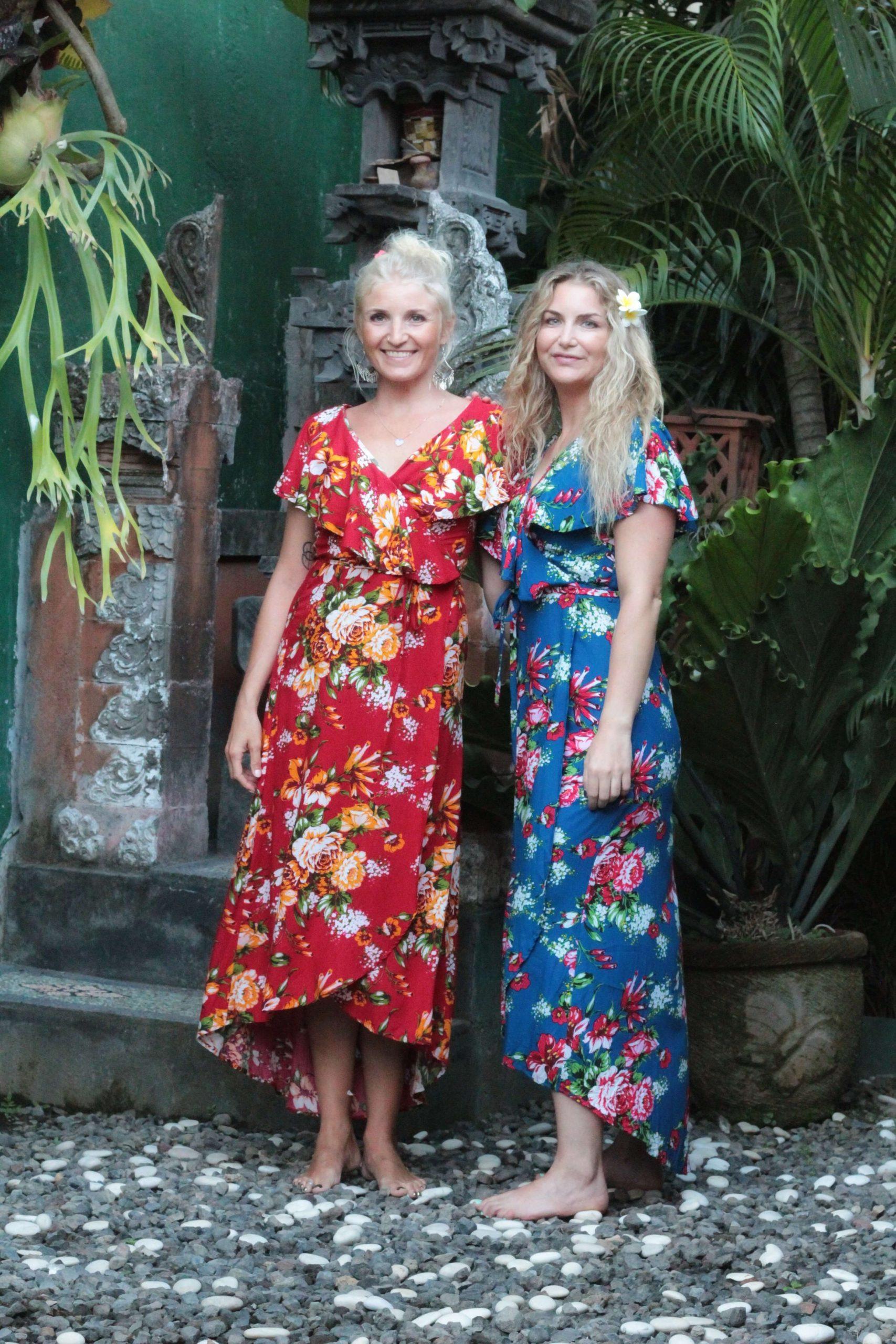 Blumen Wickelkleid Blau  Boho Midi Sommerkleid Mit