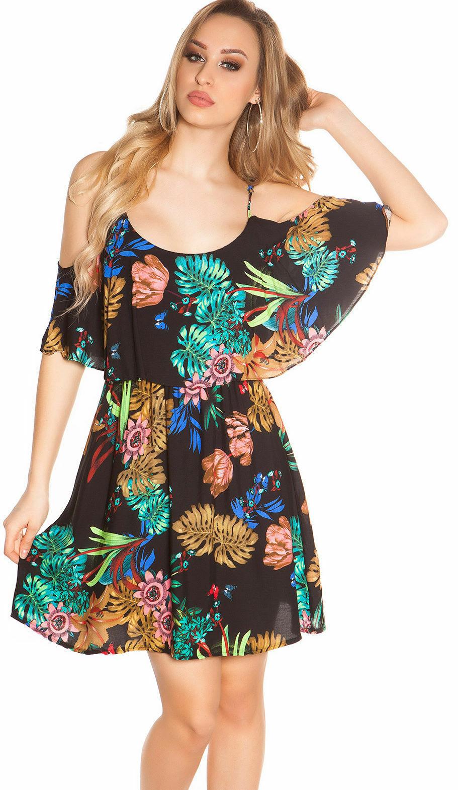 Blumenkleid Minikleid Sommer Schulterfrei Carmen Volant
