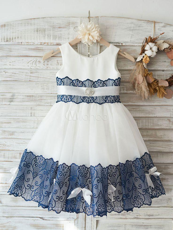 Blumenmädchen Kleider Milchweiß Abendkleider Für Hochzeit